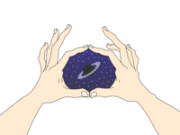 A Handful Of Space drawing hands stars space minimal vector illustration flat design