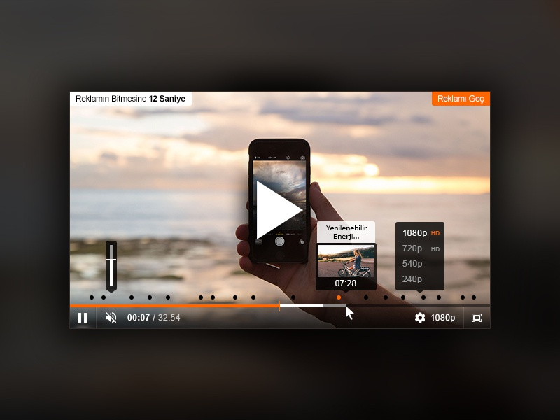 Video Player Skin for Web donanimhaber jwplayer theme skin player