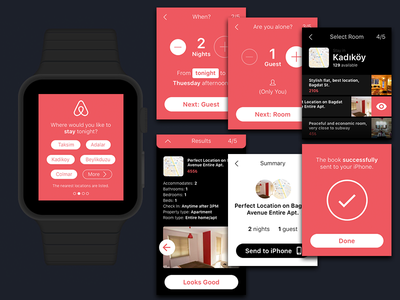 Airbnb for Apple Watch hotel booking pink smartwatch airbnb apple watch