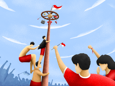 Panjat Pinang - Indonesia's 76th Independence graphic design event special event brush photoshop digital painting red crowded competitive collaboration celebrate team work independence indonesia perspective design character noise illustration