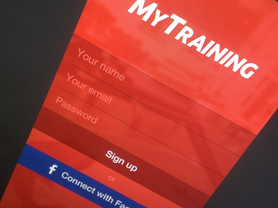 Sign up / login screen app ios login form input button gym fitness sign up sign in