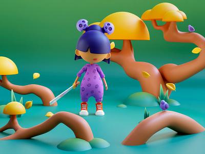 Pajama samurai 3d artwork design 3d ilustration pajama samurai 3d character character game art art plastic 3d design blender3d blender 3d art