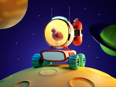 Bird Explorer space game art game design illustration design character blender 3d ilustration 3d design 3d artwork 3d art art