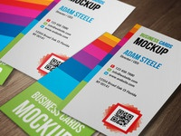 Free PSD: Verticle Business Cards Mockup
