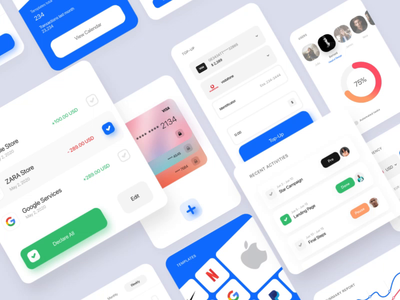 Finance micro UI kit — Part 1 ui kit motion minimal layout interface web interaction design graphic kit animated micro ux ui
