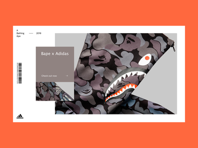 A Bathing Ape x Adidas sport shark campaign design grid interaction interface layout typography ui ux graphic minimal art web website colors fashion fashion store