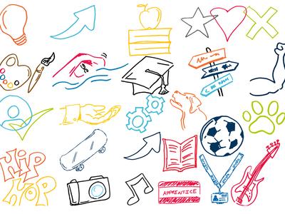 Hand drawn illustrations for internal branding