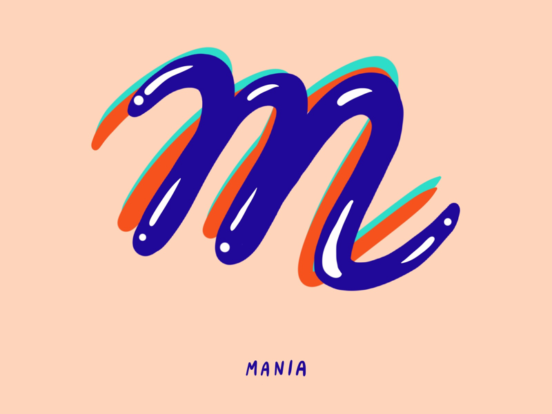 M for Mania maniac mania typography type mental health illustration i love type hand lettering flat digital design anxiety 36 days of type 2d