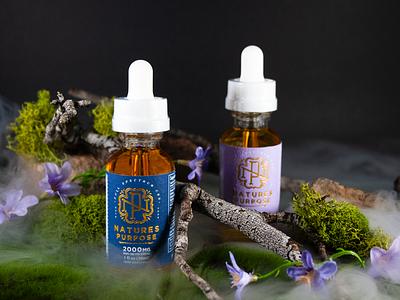 Nature's Purpose CBD custom labels beautiful photography freelance monogram logo design rebrand oil marijuana cannabis tincture cbd