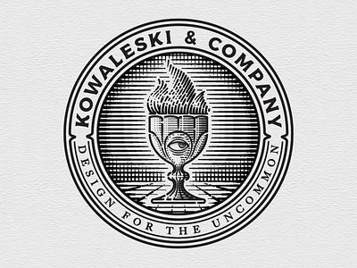 Kowaleski & Co. Logo typography badge goblet engraving logo icon branding design illustration