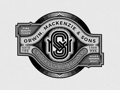 Orwin, Mackenzie & Sons Grocery store logo detail designer logo typography illustration icon engraving design branding badge