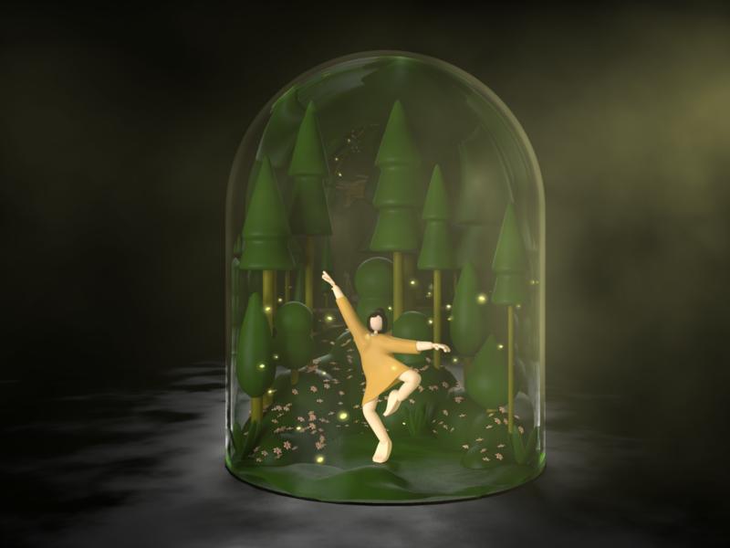 Finding Inner Peace design render girl character womans fireflies dark vision dream terrarium dome meditation trees forest character cinema4d c4d 3d