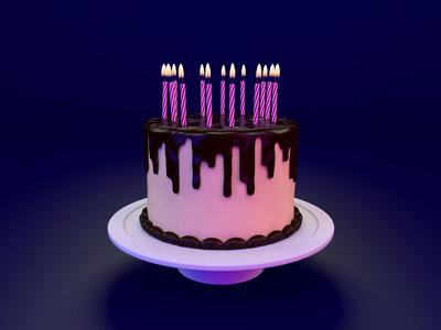 Virtual Birthday motion animation gold candles cake icing dark confetti illustration cinema4d render c4d 3d