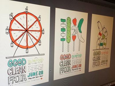Good Clean Fair Revised Posters poster handlettering slowfood illustration color ferris food games