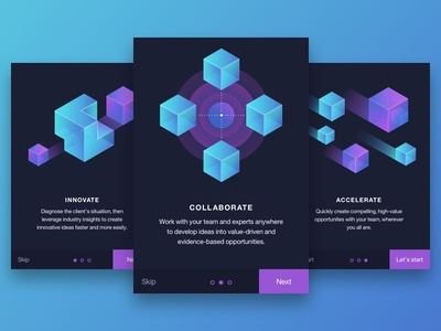 On boarding screens abstract illustration gradients mobile app ui onboarding cubes