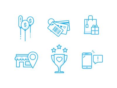 Retail Icons iconograph illustration blue rewards shopping retail icons