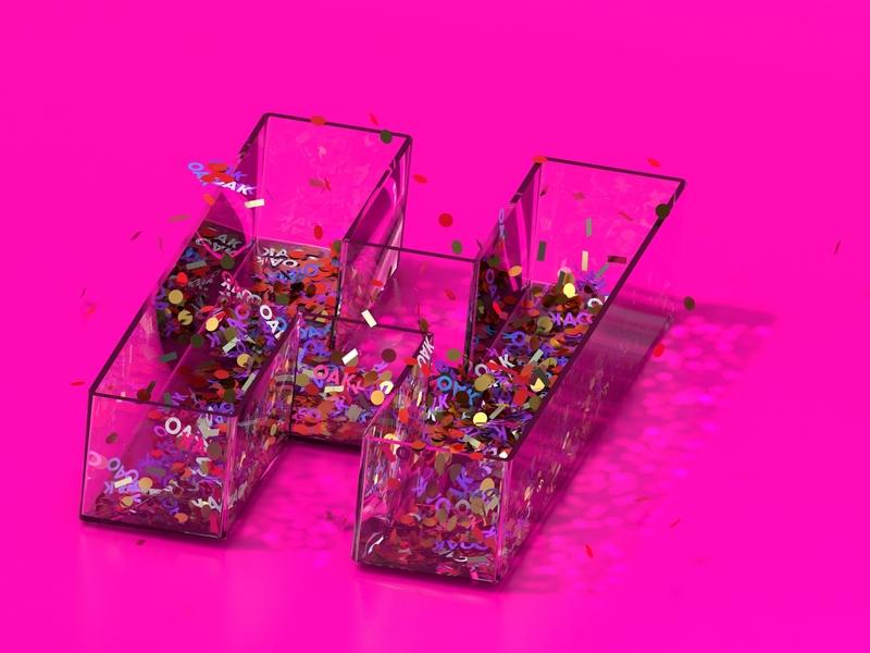 Confetti Huge Oakland cinema4d glass confetti render letter type c4d 3d