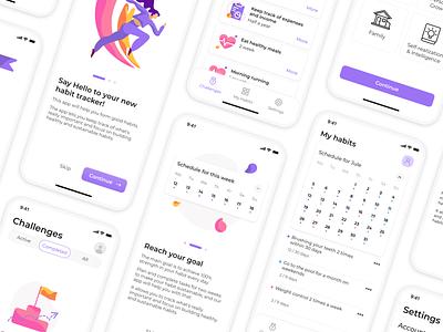 Habit Mobile App Design purpose goal challenges challenge habits tracker invest payment logo illustration vector app mobile web ui ux sketch dribbble design habit