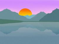 Minimalist Sunset Over Mountain Lake (With Noise)
