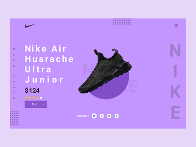 Nike Air Huarache Ultra Junior lifestyle brand market trainer webdesign website design ui ux trainer shop sport wear shoe shop product website nike landing page lifestyle ecommerce 2020 trends cart