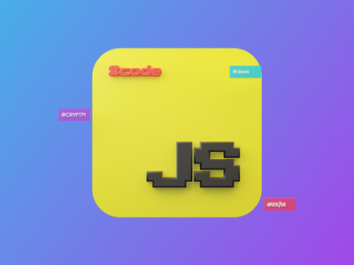 3D Icon developers javascript blendercycles green yellow purple gradient tag app iconography icon blender 3d branding logo illustration design 2020 trends ux ui