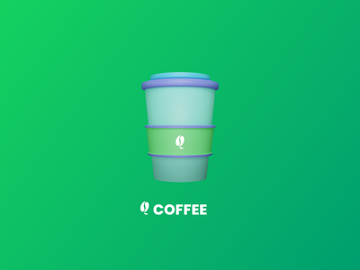 3D Cup coffee cup green logo 3d art 3d figma design branding 2020 trends ux ui