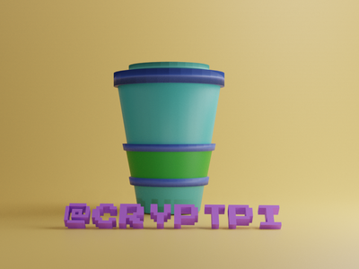 coffee cup2 cryptpi green 3d art blender design 3d ux branding 2020 trends ui