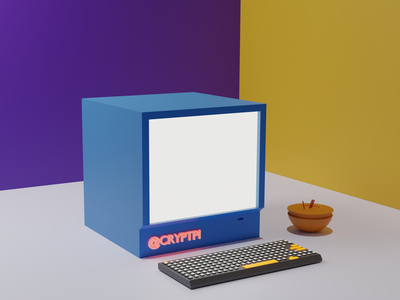 Old Mac purple yellow mice keyboard laptop computer awesome wow art cgi renders blender 3d lighting blender design 3d branding 2020 trends
