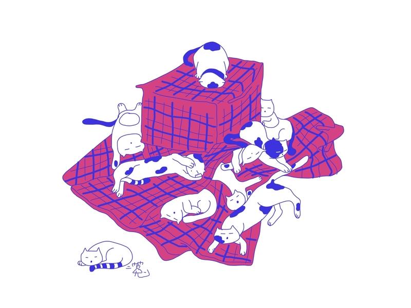 Sleeping Cats illustration
