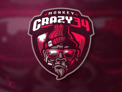 MONKEY  CRAZY sports logo twitch logo twitch esports gamelogo mascot gaminglogo design mascot logo illustration esportlogo