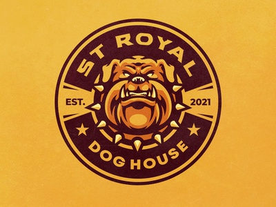 ST ROYAL DOG HOUSE icons petlogo pet bulldog doglogo dog mascotlogo logo esports gamelogo mascot gaminglogo design mascot logo illustration esportlogo