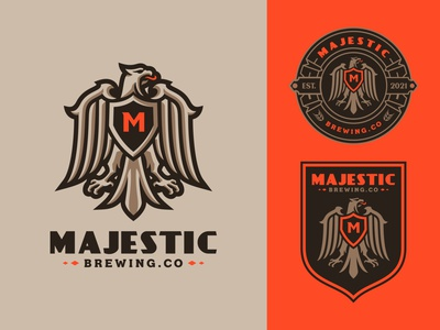 Majestic Eagle eagle mascot eagle logo falcon logo falcon eagle heraldic logobrand branding design brand logo mascot design mascot logo illustration