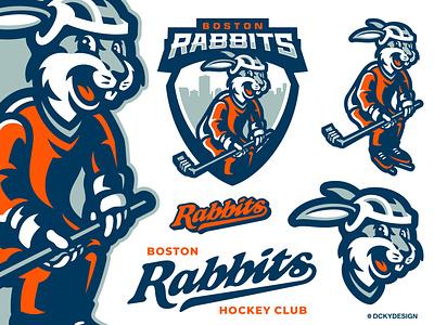 RABBITS sportsbranding hockey stick hockey jersey hockey logo hockey mascot design sports logo branding gamelogo esports mascot esportlogo design mascot logo illustration