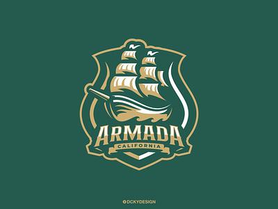 ARMADA basball volleyballlogo rugbylogo footballlogo teamlogo sportslogo gaming pirateslogo pirates armada shiplogo ship logo esports gaminglogo mascot esportlogo design mascot logo illustration