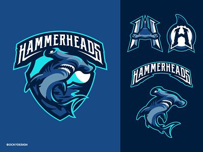 HAMMERHEADS SHARK MASCOT LOGO football mascot mascot design shark hammerheads logo shark logo rugby logo american football logo football logo branding logo esports gaminglogo mascot esportlogo design mascot logo illustration