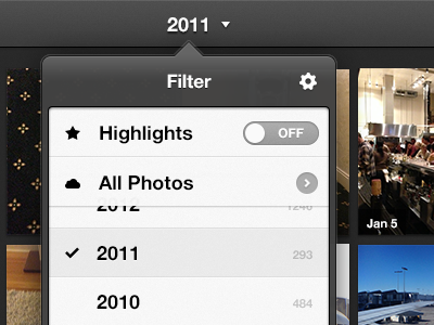 Filter Popover 2.0 everpix ipad popover highlights ios