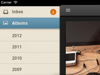 iPad: Menu Panel everpix ui menu ipad ios