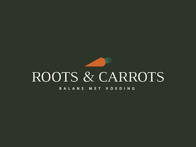 Roots & Carrots green orange icon cutlery carrots illustrator typography balance food fork carrot root roots vector logos logodesign logotype branding logo