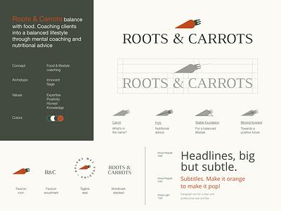 Roots & carrots | Logo system lifestyle diet food fork branding design carrots roots beige green orange typography design illustration logodesign logotype branding archetypes logo symbol logo system logo