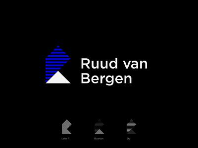 Personal logo design - Ruud van Bergen lines square illustration vector design black blue brand identity letter r stripes mountains icon triangle sky mountain branding logo design