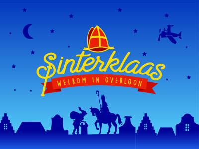 Sinterklaas / Saint Nicholas - Logo design silhouette kids children santaclaus santa christmas blue overloon sinterklaas saint nicholas icon typography illustration design logo