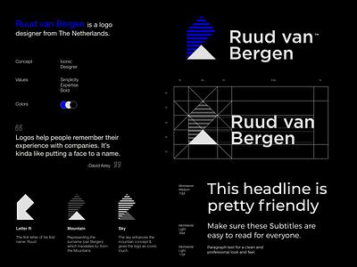 Ruud van Bergen - Logo Grid simplicity icon typography branding logo design r lettering logotype ruud van bergen logo grid mountains blue sky logodesign logo designer design