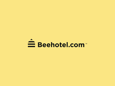 Beehotel.com - Logo design logo mark iconic logo iconic simplistic simple logo simple brand branding icon stripes yellow typography logo design wasp house hotel bee design logo