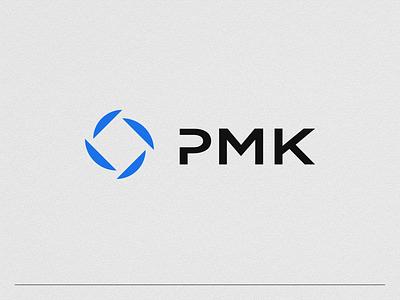 Logo design - PMK construction pmk 4 four square circle paper blue logo design mark typography logodesign icon design branding logo