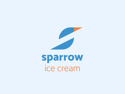 Logo - sparrow ice cream 🍨 letter s bird logo blue logo design s sparrow bird logo icon icon ice cream ice design branding logo