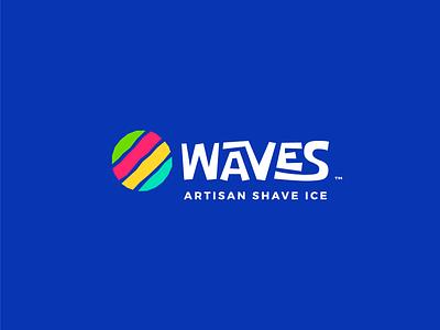 Logo Waves Artisan Shave Ice stripe logo striped circular circle fruit waves colourful blue colorful shave ice ice branding logo design typography minimal logo abstract icon logodesign logotype logo