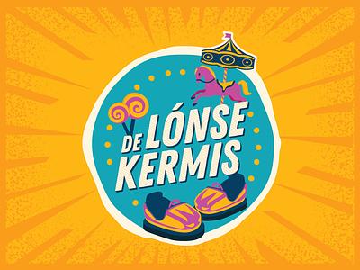De Lónse kermis logo overloon blue orange fair state fair kermis horse colorful candy illustrator vector design branding logo illustration