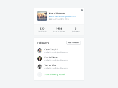 User Card & Followers