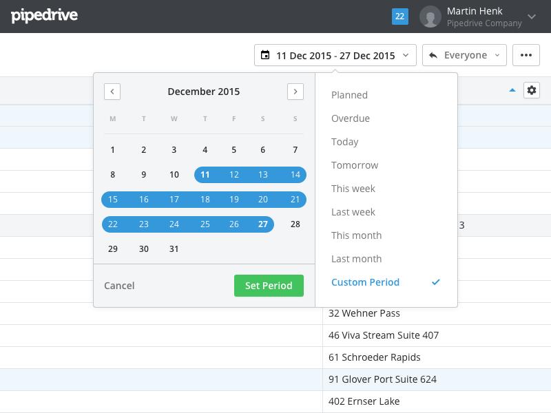 Datepicker Popover period button select dropdown calendar pipedrive ui popover datepicker