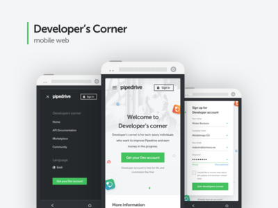 Developer's corner mobile website design
